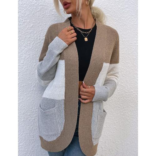 Khaki Color Block Curve Cardigan with Pockets TQK271361-21