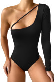 Black Cut-out One Shoulder Bodysuit LC32867-2