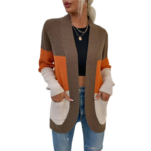 Coffee Color Block Curve Cardigan with Pockets TQK271361-15