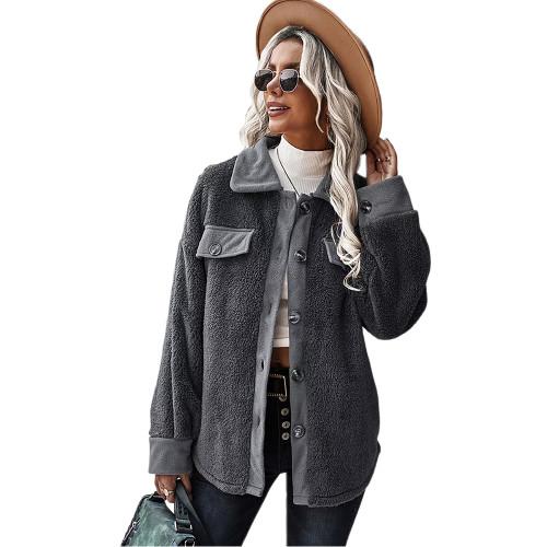 Dark Gray Double Side Fleece Button Warm Jacket TQK280131-26