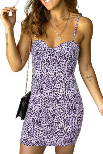 Purple Leopard Print Spaghetti Strap Bodycon Mini Dress LC229931-8