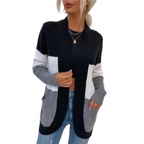 Black Color Block Curve Cardigan with Pockets TQK271361-2