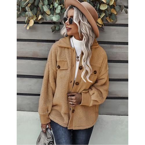 Khaki Double Side Fleece Button Warm Jacket TQK280131-21
