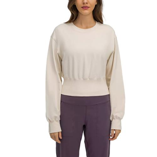 White Slim Waist Running Sports Sweatshirt TQE21531-1