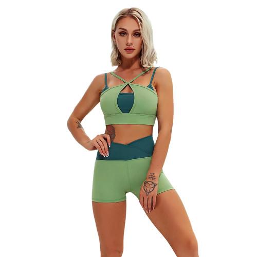 Green Contrast Double Straps Yoga Bra Shorts Set TQE91570-9
