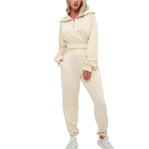 Apricot Zipper-up Cotton Sweatshirt with Pant Sports Set TQE91573-18