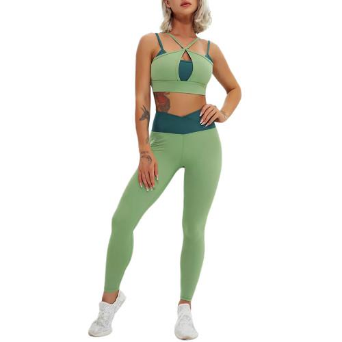 Green Contrast Double Straps Yoga Bra Pant Set TQE91571-9