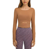 Brown Push-up Front Hollow-out Long Sleeve Yoga Tops TQE21549-15