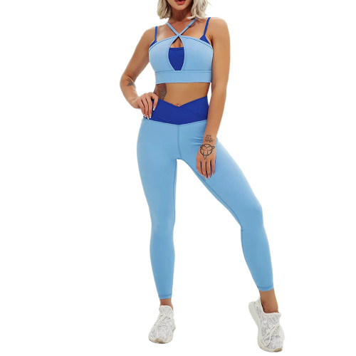 Blue Contrast Double Straps Yoga Bra Pant Set TQE91571-5