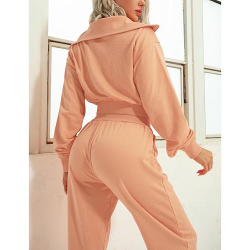 Orange Zipper-up Cotton Sweatshirt with Pant Sports Set TQE91573-14