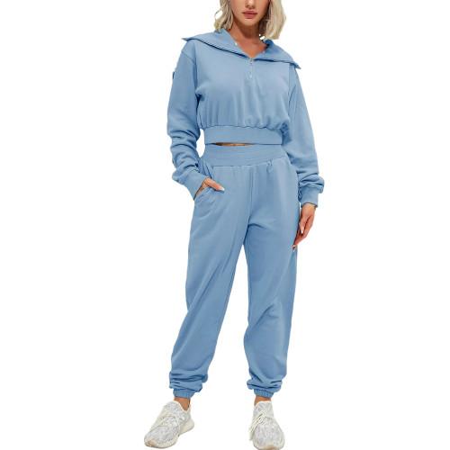 Blue Zipper-up Cotton Sweatshirt with Pant Sports Set TQE91573-5
