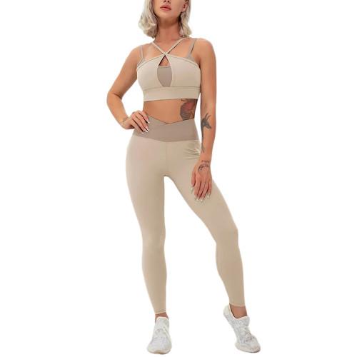 Khaki Contrast Double Straps Yoga Bra Pant Set TQE91571-21