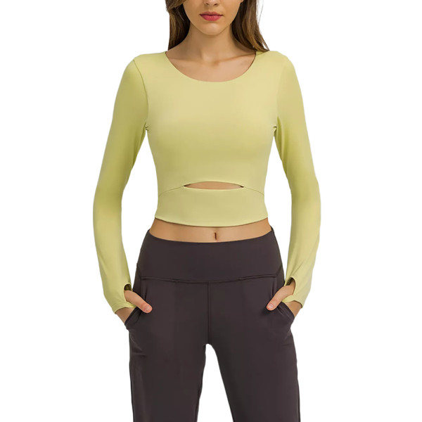 Yellow Push-up Front Hollow-out Long Sleeve Yoga Tops TQE21549-7