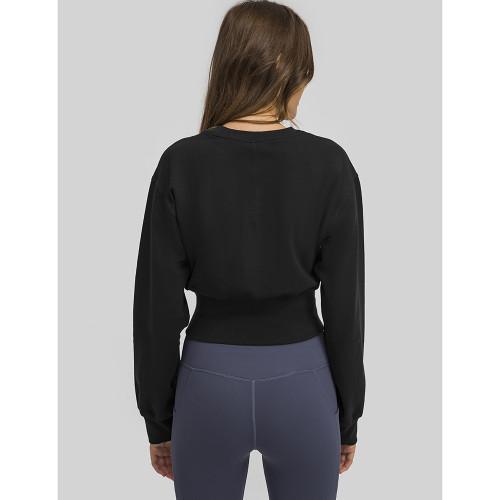 Black Slim Waist Running Sports Sweatshirt TQE21531-2
