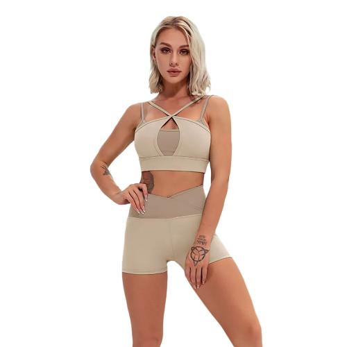 Khaki Contrast Double Straps Yoga Bra Shorts Set TQE91570-21