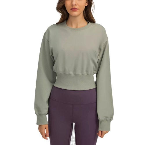 Gray Slim Waist Running Sports Sweatshirt TQE21531-11