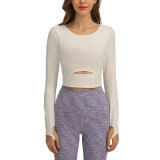 White Push-up Front Hollow-out Long Sleeve Yoga Tops TQE21549-1