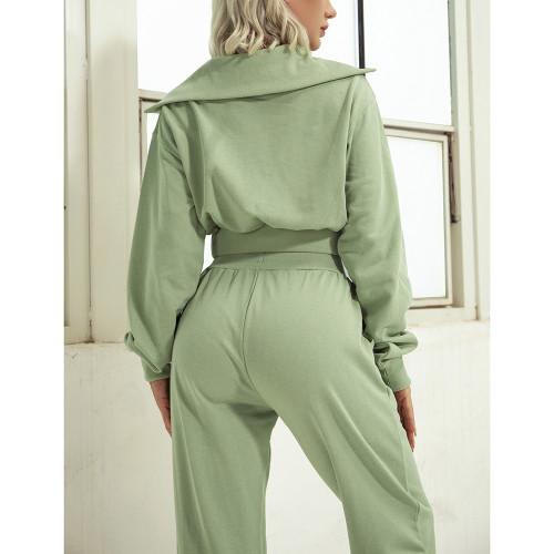 Green Zipper-up Cotton Sweatshirt with Pant Sports Set TQE91573-9