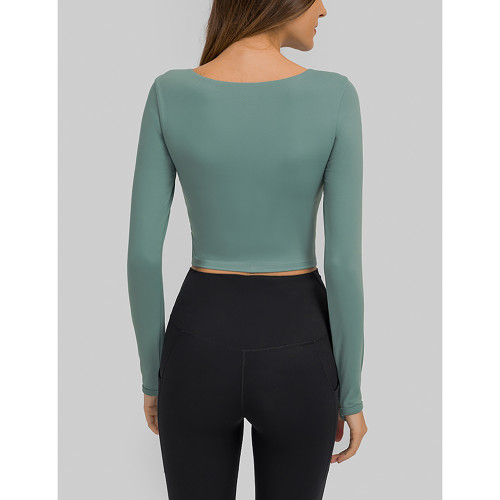 Blue Push-up Front Hollow-out Long Sleeve Yoga Tops TQE21549-5
