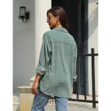 Pea Green Rivet Corduroy Buttoned Pocketed Long Sleeve Shirt TQK280138-64