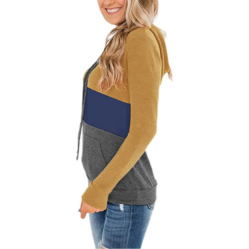 Yellow Color Block Fleece Drawstring Hoodie TQK230348-7