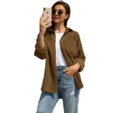 Khaki Rivet Corduroy Buttoned Pocketed Long Sleeve Shirt TQK280138-21