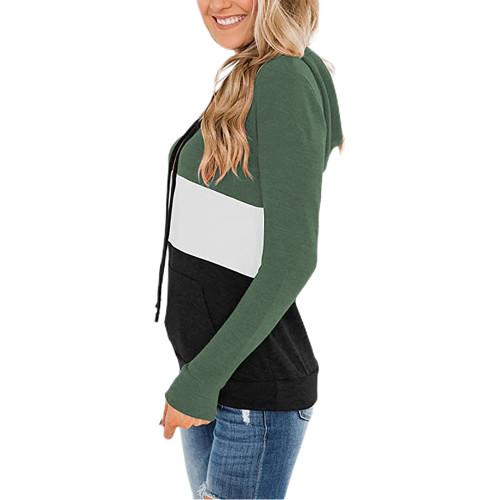 Green Color Block Fleece Drawstring Hoodie TQK230348-9