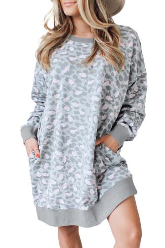 Leopard Print Long Sleeve Sweatshirt Dress LC229875-20