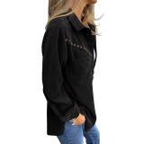 Black Rivet Corduroy Buttoned Pocketed Long Sleeve Shirt TQK280138-2