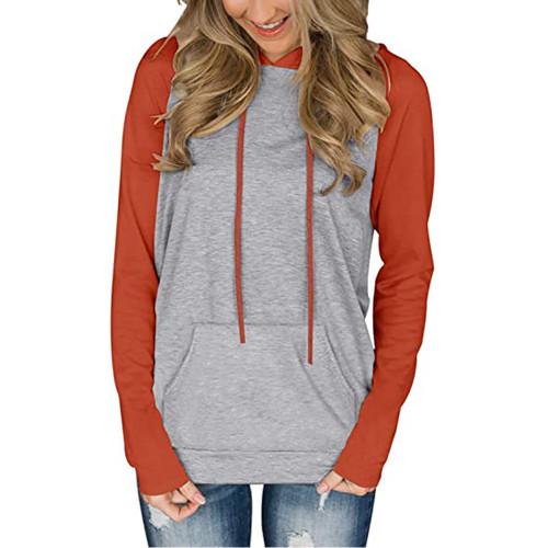 Orange Contrast Raglan Sleeve Pocketed Hoodie TQK230347-14