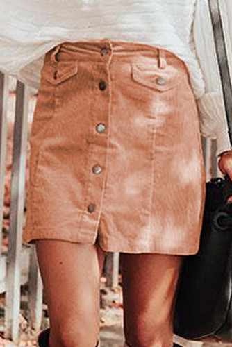 Apricot High Waist Button Corduroy Mini Skirt LC651038-18