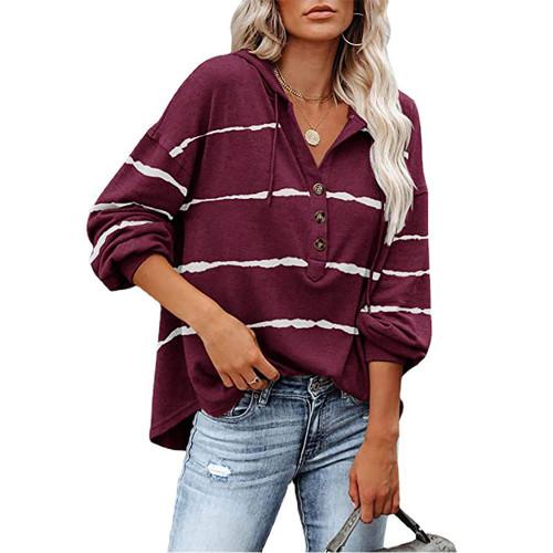 Wine Red Wave Striped 1/2 Button-up Oversized Sweatshirt TQK230346-23