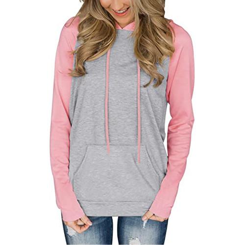 Pink Contrast Raglan Sleeve Pocketed Hoodie TQK230347-10