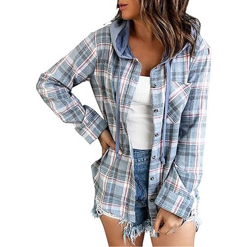 Light Blue Plaid Print Hooded Shirt Jacket TQK280139-30