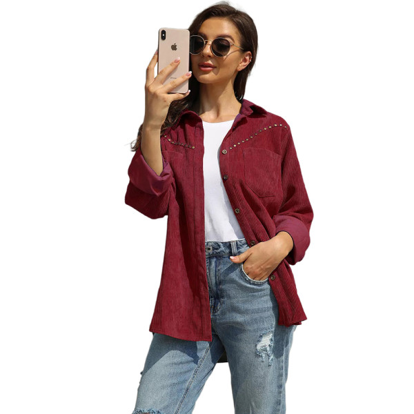 Wine Red Rivet Corduroy Buttoned Pocketed Long Sleeve Shirt TQK280138-23