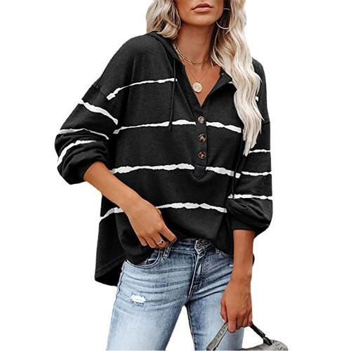 Black Wave Striped 1/2 Button-up Oversized Sweatshirt TQK230346-2