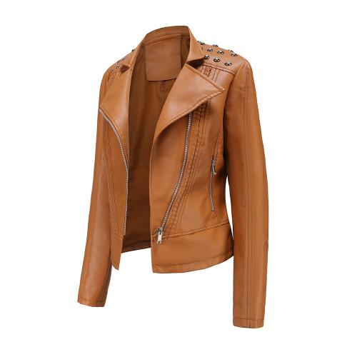 Camel Rivet Decoration Turndown Collar PU Leather Jacket TQK280137-58