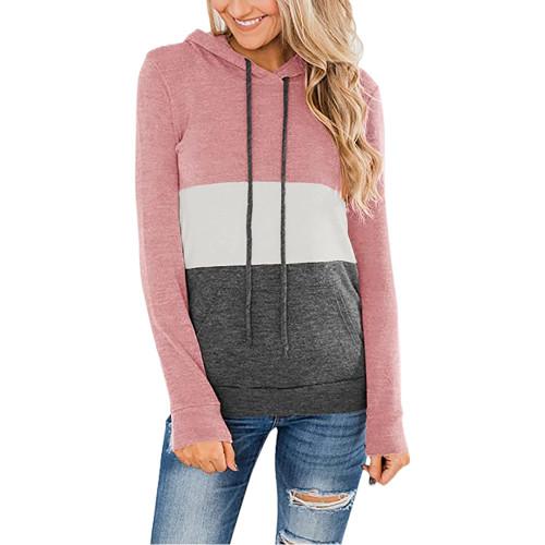 Pink Color Block Fleece Drawstring Hoodie TQK230348-10