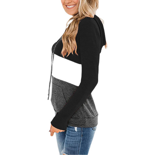 Black Color Block Fleece Drawstring Hoodie TQK230348-2