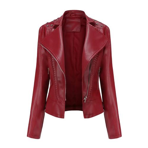 Wine Red Rivet Decoration Turndown Collar PU Leather Jacket TQK280137-23