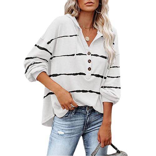 White Wave Striped 1/2 Button-up Oversized Sweatshirt TQK230346-1