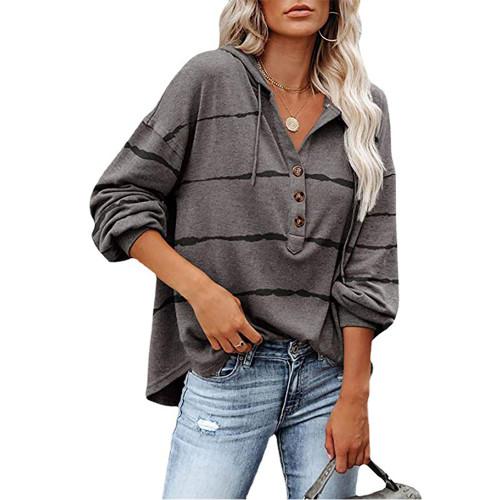 Gray Wave Striped 1/2 Button-up Oversized Sweatshirt TQK230346-11
