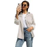 Apricot Rivet Corduroy Buttoned Pocketed Long Sleeve Shirt TQK280138-18