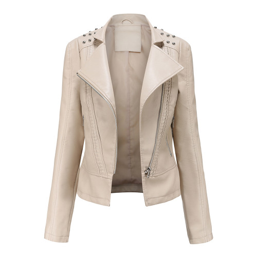 Beige Rivet Decoration Turndown Collar PU Leather Jacket TQK280137-46