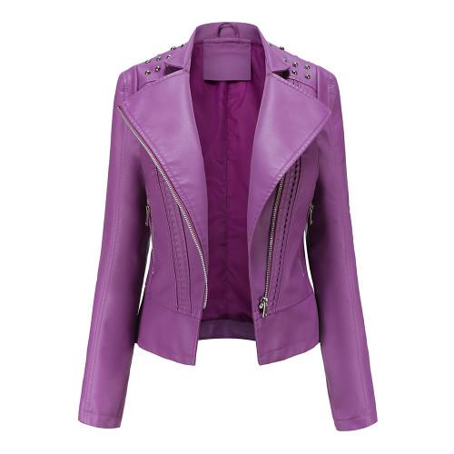 Purple Rivet Decoration Turndown Collar PU Leather Jacket TQK280137-8