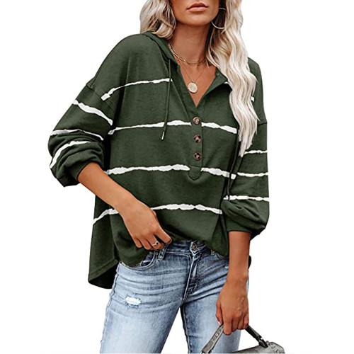 Army Green Wave Striped 1/2 Button-up Oversized Sweatshirt TQK230346-27