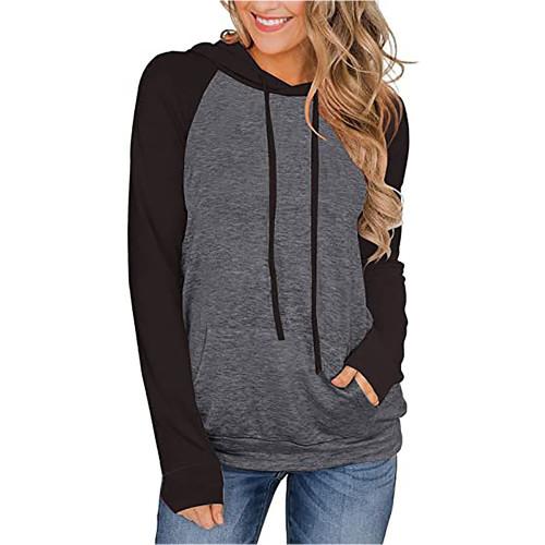 Gray Contrast Raglan Sleeve Pocketed Hoodie TQK230347-11