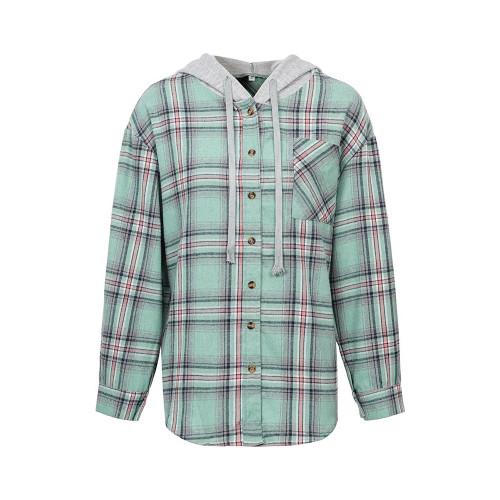 Aquamarine Plaid Print Hooded Shirt Jacket TQK280139-45