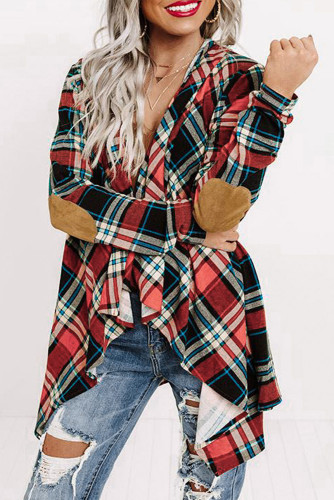 Suede Elbow Patch Hooded Plaid Cardigan LC2541089-3