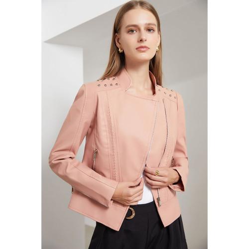 Pink Rivet Decoration Turndown Collar PU Leather Jacket TQK280137-10